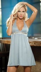 Halter Babydoll Dress, Sexy Clubwear, Party Dress, Grey Mini Dress