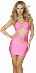 Tube Club Dress with Double O Ring Detail, Hot Pink Tube Mini Dress, Roma Costume 3130