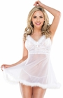 Mesh and Lace White Babydoll