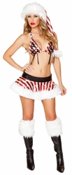 Metallic Candy Cane Skirt Set, Christmas Costumes, Sexy Santa Costumes