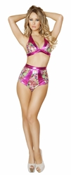 Metallic Pink Halter Top and High Waisted Shorts, Pink Jewels Halter Top and High Waisted Shorts, Roma 3123
