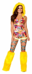 Multi Plaid Rave Romper, Rave Clothing, Neon Plaid Romper with Fur Trimmed Hood