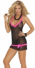 Neon Lace Trim Chemise