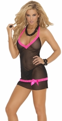 Sheer Chemise, Black Chemise with Pink Lace Trim, Elegant Moments Lingerie