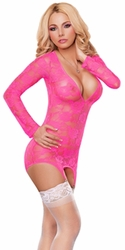Neon Lace merry Widow Chemise Set, Neon Lingerie, Pink Neon Lace Chemise Bedroom Dress