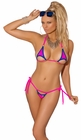 Neon Purple and Pink Triangle Top and Thong