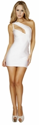 One Shoulder Mini Dress, Roma Costume Style 3132, Clubbing White Mini Dress