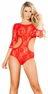 Open Back Lace Red Teddy, Long Sleeve Teddy, Lace Teddy, Bridal Teddys