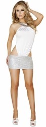 Cross Strap back Mini Dress, Open Back Strappy White Dress with Sequin Silver Skirt