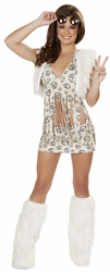Tan Hippie Chick Costume, Peace Baby Hippie Costume, Peace Hippie Top and Skirt Costume