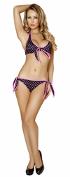 Two Piece Polka Dot Tie Side Bottoms and Top, Roma 3119, Retro Polka Dot Pinup Poolside Wear