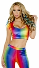 Dancewear Tops, Rainbow Crop Top, Velvet Rave Top, Disco Party Tops