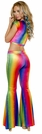 Hippie Pants, Rave Pants, Rainbow Velvet Bell Bottom Pants, Rainbow Pants