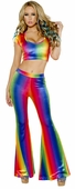 Rainbow Velvet Bell Bottom Pants