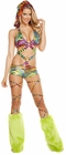 Rainbow Zebra Printed Monokini With Detachable Hood