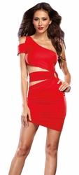One Shoulder Dress, Clubbing Dress, Red Mini Dress, Red Dresses