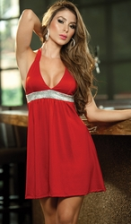 Halter Babydoll Dress, Sexy Clubwear, Party Dress, Red Mini Dress
