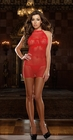 Red Fishnet Chemise Set