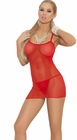 Red Fishnet Lingerie Mini Dress