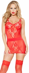 Lace Chemise and G String Lingerie Set, Red Chemise, Red Lace Chemise