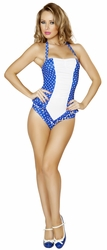 Pinup Romper with Ruffled Waist, Scrunched Front Pinup Romper, Poolside Wear