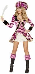 Pink Pirate Captain Costume, Seductive Pirate Captain Costume, Roma 4527