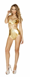 Gold High Waisted Romper, Sequin Front Gold Romper by Roma, Roma 3102