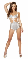 Silver High Waisted Romper, Sequin Front Silver Romper by Roma, Roma 3102