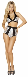 Silver Metallic Leopard Halter Top and High Waisted Shorts, Leopard Print Top and Banded Shorts, Silver Metallic Halter Top and Shorts