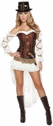 Sexy Steampunk Babe Costume, Adult Steampunk Costume, Women's Steampunk Costume