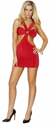 Strappy Red Mini Dress, Roma Costume 3133, Strappy Mini Dress with O Ring Detail