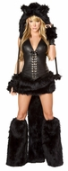 The Furry Black Cat Costume by J Valentine, Black Cat Corset, Cat Top and Skirt