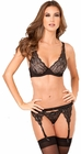 Three Piece Lurex Lace Thong and Bra