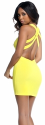 Tristan Double Strap Tank Mini Dress, Yellow Tank Mini Dress, Forplay 884117