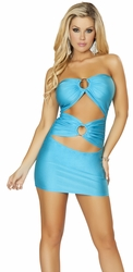 Tube Club Dress with Double O Ring Detail, Turquoise Tube Mini Dress, Roma Costume 3130