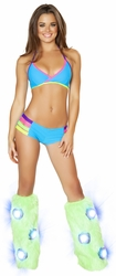 Turquoise Halter Top and Shorts, Banded Halter Top and Shorts Set, Ravewear, J Valentine Ravewear