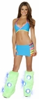 Turquoise Multi Banded Bra and Skirt Set