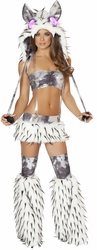 White and Black Rave Costume, White and Black Suspender Skirt and Halter Top, Carnival Costumes