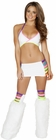 White and Neon Multi Banded Bra and Skirt Set