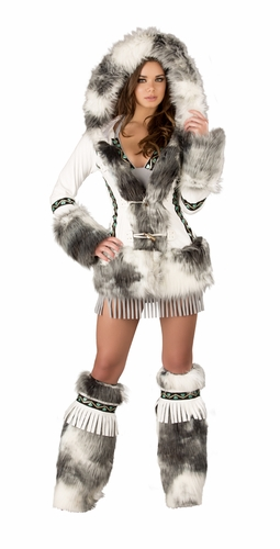 Deluxe Eskimo White Coat, Hooded White Eskimo Coat, Sexy Eskimo Coat