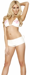 White Kitty Cat Short Set, Bedroom Costumes, Women's Top and Short