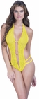 Yellow Crotchless Lace Teddy With Rhinestones