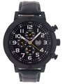 Kronwerk AQ202802G Black Large Face Leather Band Multifunction Mens Watch