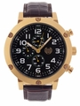 Kronwerk AQ202803G Brown Leather Band Black Dial Gold Tone Case Mens Watch