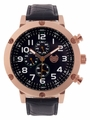 Kronwerk AQ202804G Black Leather Band Large Face Rose Gold Tone Case Mens Watch