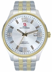 Swiss Mountaineer SM8001 Gold Tone Bezel Date Display Mens Dress Watch