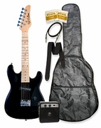 32 Black Junior Kids Mini 1/2 Size Electric Starter Guitar and Amplifier Pack with Free Gig Bag and Accessories & DirectlyCheap(TM) Translucent Blue Medium Guitar Pick  - Click to enlarge