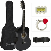 38 BLACK Acoustic Guitar Starters Beginner Package, Guitars, Gig Bag, Strap, Pitch Pipe Tuner, 2 Pick Guards, Extra String & DirectlyCheap® Pick (BK-AG38) [Teacher Approved] - Click to enlarge