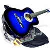 "38"" BLUE Acoustic Guitar Starters Beginner Package, Guitars, Gig Bag, Strap, Pitch Pipe Tuner, 2 Pick Guards, Extra String & DirectlyCheap® Pick (BU-AG38) [Teacher Approved]"