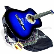 38 BLUE Acoustic Guitar Starters Beginner Package, Guitars, Gig Bag, Strap, Pitch Pipe Tuner, 2 Pick Guards, Extra String & DirectlyCheap® Pick (BU-AG38) [Teacher Approved] - Click to enlarge